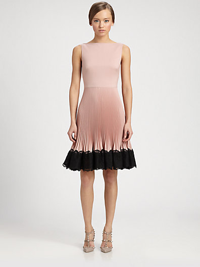 Valentino Lace-Trimmed Techno Couture Plisse Dress