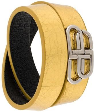 Balenciaga logo plaque wrap style bracelet