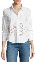Theory Weylend Poplin Embroidered Eyelet Shirt, White