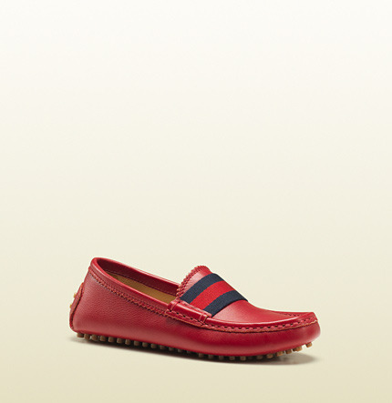 Gucci Kid's Red Leather Driver With Web Detail