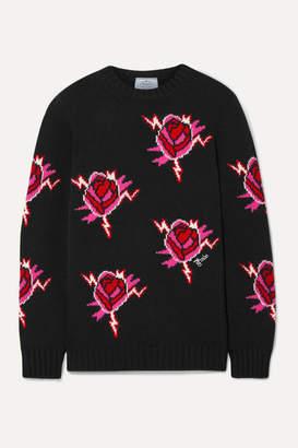 Prada Intarsia Wool And Cashmere-blend Sweater - Black