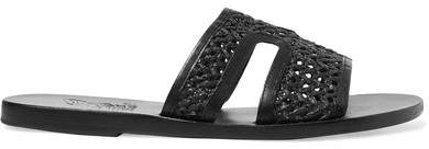 Ancient Greek Sandals Apteros Woven Raffia And Leather Slides - Black