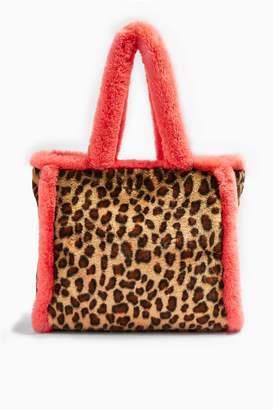 Topshop FRANKIE Faux Fur Leopard Print Tote Bag
