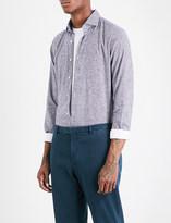 SLOWEAR Gingham slim-fit brushed-cotton shirt