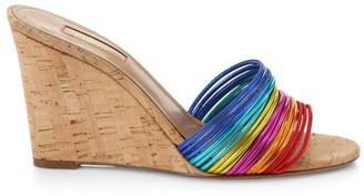 Aquazzura Bangle Rainbow Cork Wedge Mules