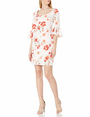 Donna Morgan Women's Printed Crepe Bell Sleeve Dress