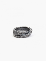 Denis Music Oxidised Silver Moebius Triple-Cross Ring