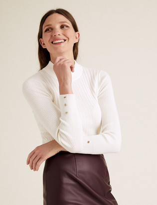Marks and Spencer Soft Touch Ribbed Funnel Neck Fitted Jumper