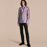 Burberry Unlined Striped Cotton Silk Blazer