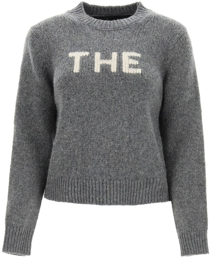"""Thumbnail for your product : MARC JACOBS, THE MARC JACOBS (THE) SWEATER WITH """"THE"""" INTARSIA L Grey,White Wool"""