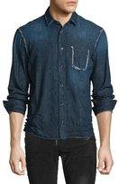 Just Cavalli Denim Snakeskin-Textured Shirt, Navy