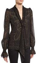 Roberto Cavalli Cage-Print Tie-Neck Silk Blouse, Black/Gold