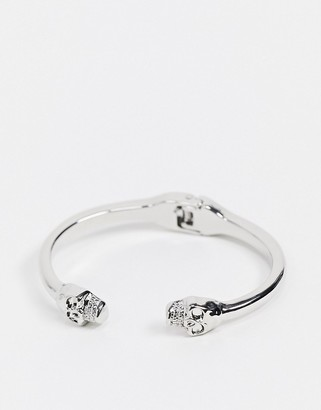 Topshop hinge bangle bracelet with skull detail in silver