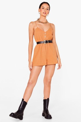 Nasty Gal Womens Close the Lead Button-Down Relaxed Romper - Camel