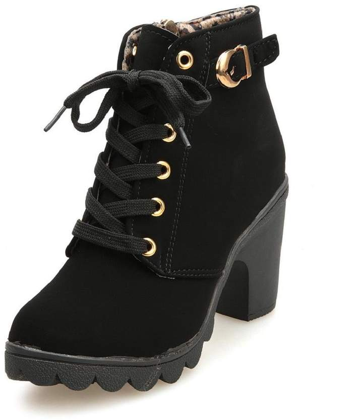 65d7e3d49e254 HGWXX7's Shoes Women Martin Boots HGWXX7 Fashion High Heel Thick with Thick  End Lace Up Ankle Boots Ladies Buckle Platform Shoes (39, )