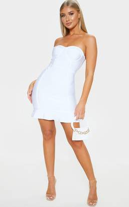 PrettyLittleThing Presli White Bandage Frill Hem Bodycon Dress