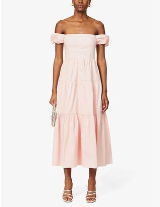 STAUD Elio off-the-shoulder stretch-cotton poplin maxi dress