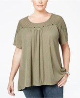 Style&Co. Style & Co. Plus Size Embellished Lace-Yoke Top, Only at Macy's