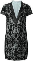 Ungaro floral lace v-neck dress