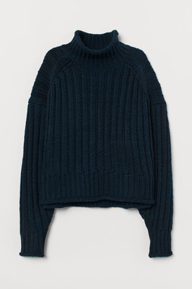 H&M Rib-knit Turtleneck Sweater - Blue