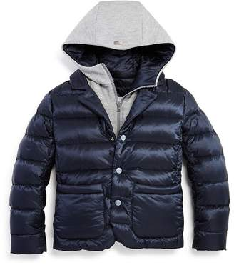 Herno Unisex Layered-Look Hooded Down Jacket - Little Kid
