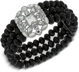 2028 Silver-Tone Black Bead and Crystal Stretch Bracelet