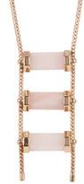 House Of Harlow Triple Rose Quartz Drop Necklace