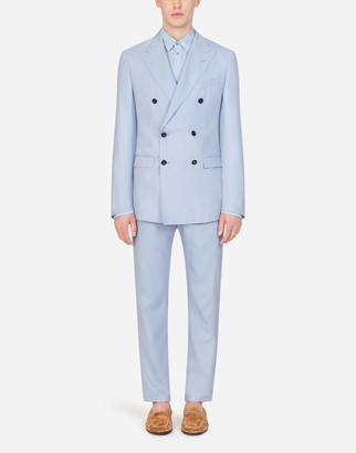 Dolce & Gabbana Double-Breasted Taormina Suit In Cotton And Silk