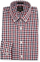 Neiman Marcus Trim-Fit Regular-Finish Plaid Dress Shirt, Black/Red