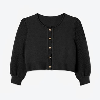 Lowie Black Bell Sleeve Cropped Cardigan - S