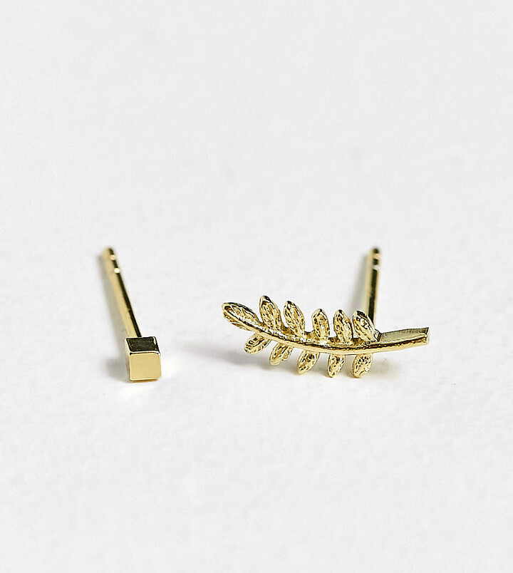 Kingsley Ryan feather and stud earring in sterling silver gold plate