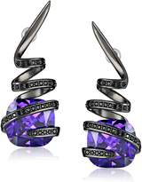 Noir Violet Gunmetal-Tone Cubic Zirconia Wrapped Stone Earrings
