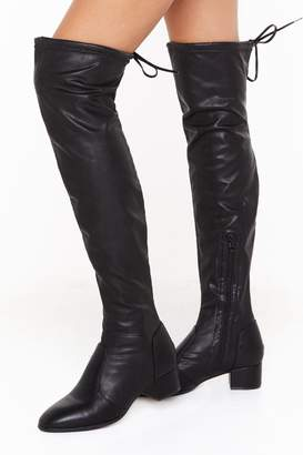 Nasty Gal Womens It's Over Faux Leather Thigh High Boots - black - 3