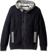 Calvin Klein Jeans Men's Terry Mixed Guage Button up Hoodie