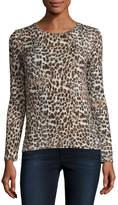 Majestic Paris for Neiman Marcus Animal-Print Long-Sleeve Crewneck Sweater