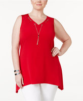 NY Collection Plus Size Tassel Necklace Tunic