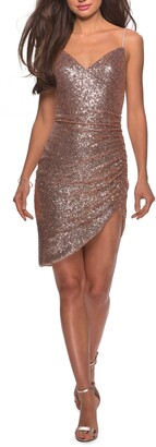 La Femme Ruched Sequin Cocktail Dress