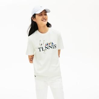 Lacoste Unisex LIVE Tennis-Print Cotton T-Shirt