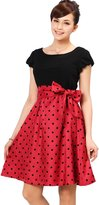 Sweet Mommy Nursing and Maternity Polka Dot Two-Tone Dress [Made in Japan] LRD