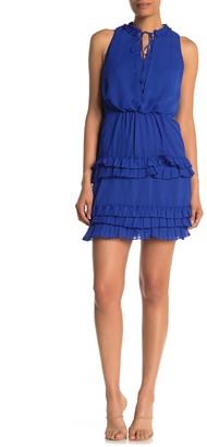 Laundry by Shelli Segal Ruffled Keyhole Sleeveless Chiffon Mini Dress