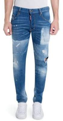 DSQUARED2 Distressed Light Patch Slim-Fit Jeans