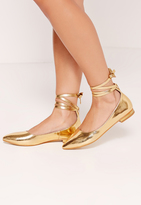 Missguided High Shine Lace Up Flat Shoes Gold