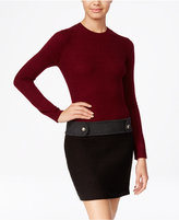 Amy Byer Juniors' Colorblocked Cable-Knit Drop-Waist Sweater Dress