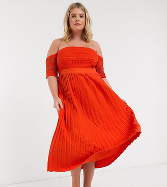 Little Mistress Plus pleat lace midaxi dress in orange