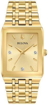 Bulova Men's Quadra Goldtone Diamond Accent Watch