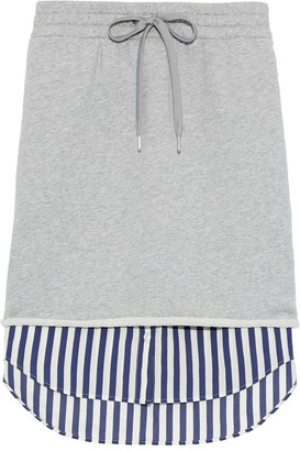Alexander Wang Layered French Cotton-terry And Striped Poplin Skirt