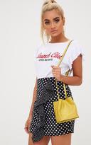PrettyLittleThing Mustard Mini Snakeskin Bucket Bag