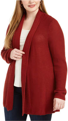 Belldini Plus Size Mixed-Knit Cardigan