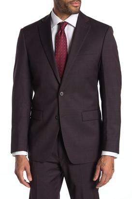 Calvin Klein Slim Fit Stretch Burgundy Neat Suit Separate Jacket