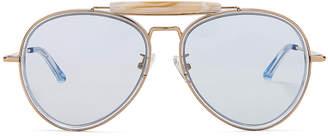 Dries Van Noten Metal Aviator Sunglasses in Pale Blue & Gold | FWRD